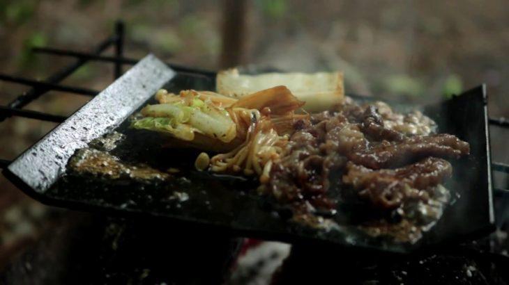 ヒロシキャンプ【野外アウトドア鉄板ですき焼き】