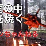 秋雨の中 肉を焼く